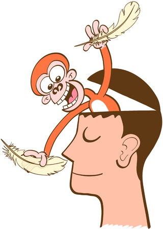 imperturbable: Mischievous monkey going out of the head of a man in meditation. The monkey is smiling and having fun while attempting to tickle the mans nose. The man keeps half-smiling, imperturbable, peaceful