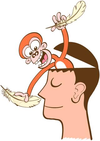 carita feliz caricatura: mono travieso que sale de la cabeza de un hombre en la meditación. El mono está sonriendo y divirtiéndose al intentar hacer cosquillas a la nariz del hombre. El hombre está con una media sonrisa, imperturbable, tranquilo Vectores