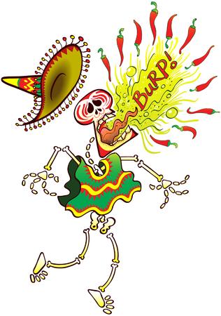 calavera caricatura: esqueleto de México llevaba un gran sombrero y un poncho mientras que hace un gran esfuerzo para eructar los pimientos picantes de una manera fuerte y dolorosa