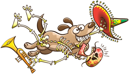spotted fur: Mischievous dog grinning and running away with a Mexican skeleton in its mouth. The decorated skeleton is feeling terrified, desperate while yelling and firmly grabbing his big hat and his trumpet Illustration