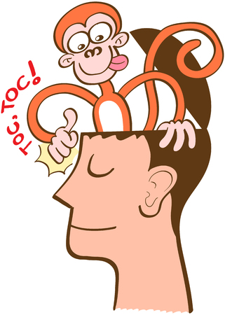 Mischievous monkey going out of the head of a man in meditation. The monkey is knocking on the front of the man's head. The man keeps meditating, perfectly serene and half-smiling