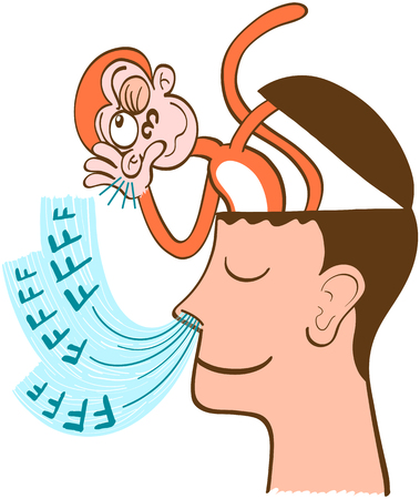 Mischievous monkey going out of the head of a man in meditation. The monkey is listening to the man's breathing. The man keeps meditating, half-smiling and concentrated on his own breathing
