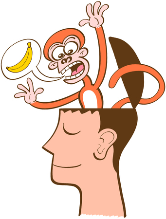 Mischievous monkey going out of the head of a man in meditation. The monkey is furiously asking for bananas by using a speech bubble. The man keeps meditating, half-smiling, peaceful, unruffled