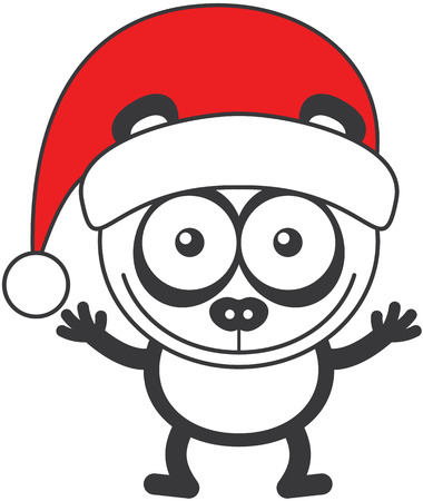 Cute panda bear with rounded ears, black rings around its eyes and wearing a Santa hat while wide opening its eyes, stretching its arms, smiling enthusiastically and greeting