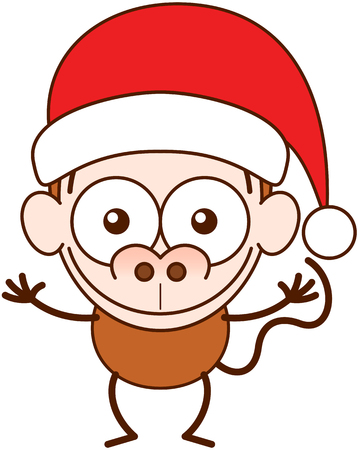 Cute brown monkey with big nose, long tail and wearing a Santa hat while wide opening its eyes, stretching its arms, smiling enthusiastically and greeting Illustration