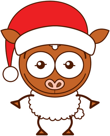 Cute brown sheep with pointy ears, white wool and wearing a Santa hat while wide opening its eyes, stretching its arms, smiling enthusiastically and posing proudly
