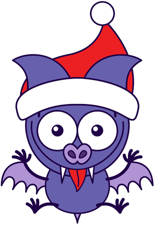 Cute purple bat with pointy ears, sharp fangs and wearing a Santa hat while wide opening its eyes, stretching its wings and legs, smiling enthusiastically, jumping and making funny faces
