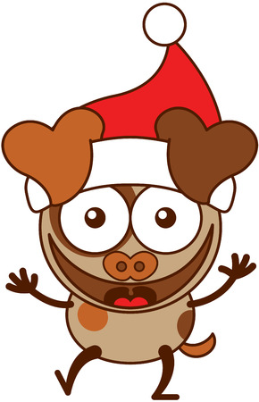 spotted fur: Cute brown dog with hanging ears, spotted fur and wearing a Santa hat while wide opening its eyes, stretching its arms, smiling enthusiastically and greeting