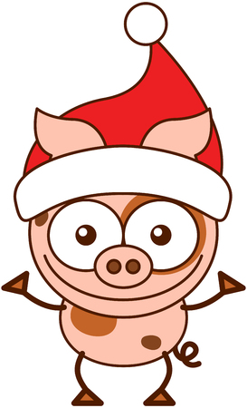 pointy hat: Cute pink pig with pointy ears, spotted skin, curly tail and wearing a Santa hat while wide opening its eyes, stretching its arms, smiling enthusiastically and greeting