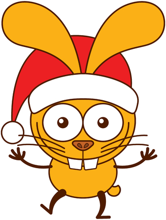 Cute yellow bunny with long ears, big teeth and wearing a Santa hat while wide opening its eyes, stretching its arms, smiling enthusiastically and greeting