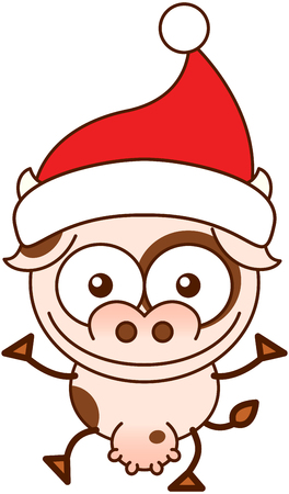 Cute spotted cow with pointy ears, big muzzle, big udder and wearing a Santa hat while wide opening its eyes, stretching its arms, smiling enthusiastically and greeting