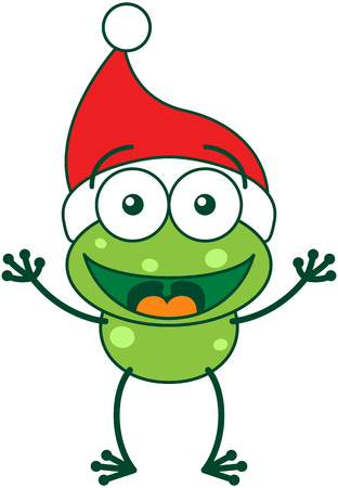 Cute green frog with spotted skin ears, long legs and wearing a Santa hat while wide opening its eyes, stretching its arms, smiling and greeting enthusiastically Illustration
