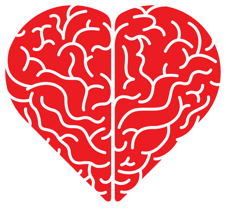 Top view of a brain in the form of a red cartoon heart showing its two sides, its convolutions and the complexity of its anatomy. Flat colors, minimalist design