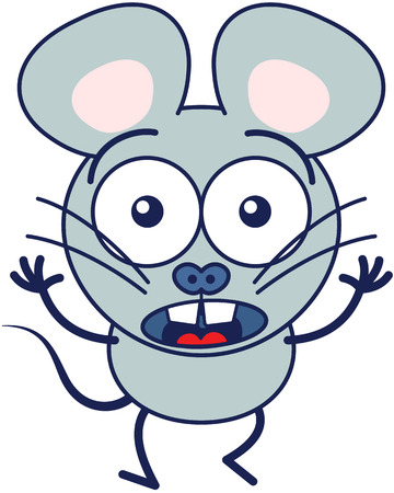 Cute gray mouse in minimalistic style with huge rounded ears, bulging eyes and big teeth while widely opening its eyes, raising its arms and expressing surprise and fear Illustration