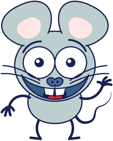 Cute gray mouse in minimalistic style with huge rounded ears, bulging eyes and big teeth while waving, greeting and welcoming animatedly