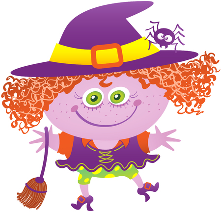 Little girl in mischievous mood, with green eyes and messy red hair while wearing a witch costume. The witch costume has big purple hat, a spider on it, a broom, shoes and funny dress and panties