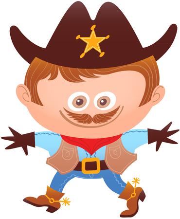 Little boy proudly smiling and posing while wearing a cowboy costume. The costume has a big sheriff hat with a shiny star, a red bandana, mustache, gloves, vest, belt and strong boots