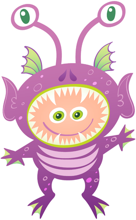 Boy smiling and wearing an alien costume. The costume has purple skin, pointy ears, sharp teeth, head fins, eyed antennae and webbed fingers and toes. The open mouth leaves space for the boy�s face