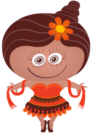 Girl with nice costume being ready to dance. Shes smiling, standing on tiptoes and proudly wearing a dancer costume. She has a flower on her hair, a shawl, a skirt in various colors and ballet shoes Illustration