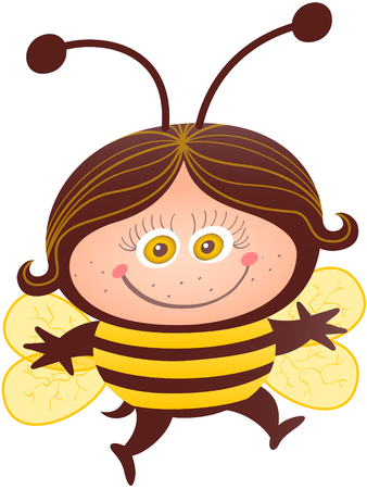 Girl smiling while wearing a bee costume. The bee costume has dark brown background, long antennae, yellow stripes, sharp stinger and four rounded wings. The costume leaves space for the girl's face