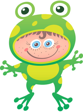Little girl proudly smiling and posing while wearing a frog costume. The costume has big eyes, yellow spots, long legs and the open mouth leaves space for the girls face