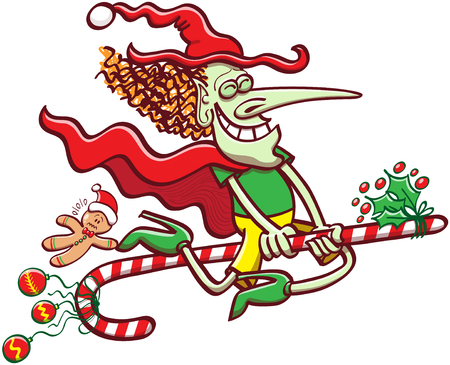 Mischievous witch clenching her eyes, smiling and wearing red and green clothes while flying on a Christmas candy cane, exhibiting baubles and ornaments and taking a cookie for a ride Illustration