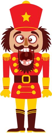 Poupée Casse-Noisette de Noël vêtue de l'uniforme de soldat rouge avec un grand chapeau étoilé, des gants et des bottes. Il croise les yeux, éclate de rire et montre ses dents cassées tout en montrant une humeur folle Banque d'images - 91194125