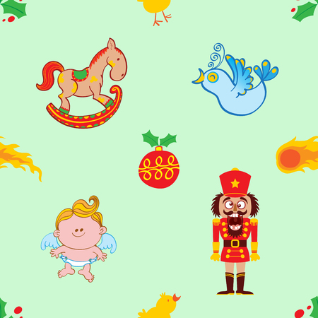 Christmas pattern made by a rocking horse, a singing bird, a nutcracker with broken teeth and a baby angel. Christmas hollies, comets, a red bauble and little chickens complete the pattern Illustration