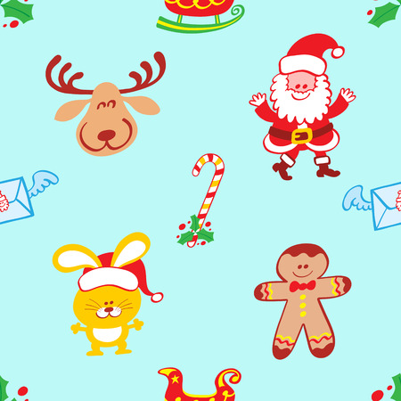 Christmas pattern featuring a smiling reindeer, a welcoming Santa Claus, a bunny with Santa hat and a smiling cookie man. Hollies, winged letters, candy cane and sleighs complete the pattern Çizim