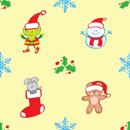 Christmas pattern depicting a waving elf, a welcoming snowman, a gray mouse in a Christmas stocking and a teddy bear with Santa hat. Christmas hollies and blue snowflakes complete the pattern