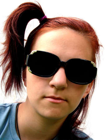 fake smile: Portrait of a punk teen, isolated on white. Stock Photo