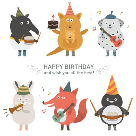 animaux zoo: Anniversaire icône du parti Illustration