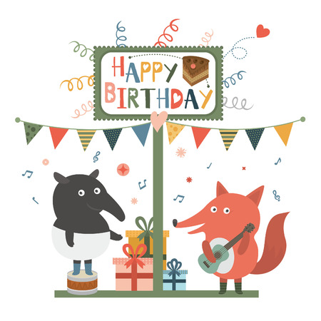 Birthday party, tapir and fox