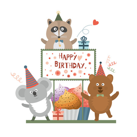 Birthday party, Raccoon and bear and koala