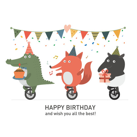 party animal: Birthday party, Crocodile and fox and tapir