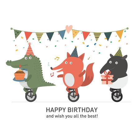 krokodil: Geburtstagsfeier, Crocodile und Fuchs und Tapir