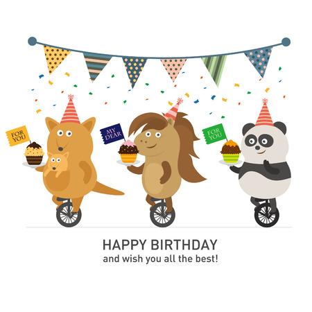 red kangaroo: Birthday party, Panda and kangaroo and horse Illustration