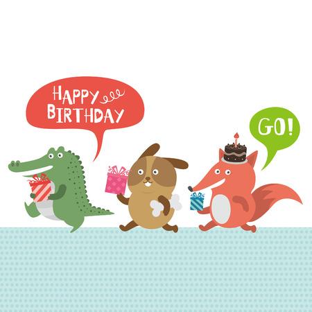 誕生日パーティー、ワニと犬とキツネ