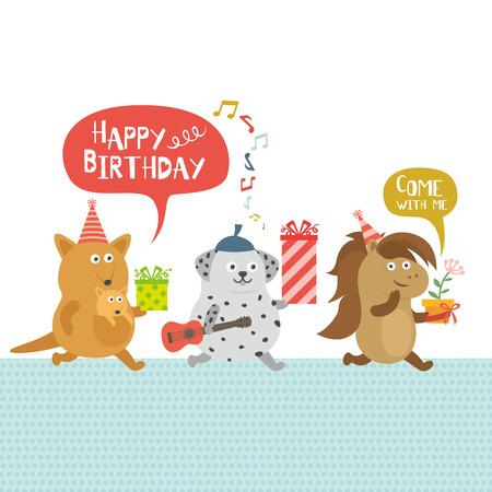 誕生日パーティー、カンガルーと犬と馬  イラスト・ベクター素材