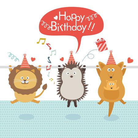 誕生日パーティー、ライオン、ハリネズミ、鉄棒にぶら下がっているカンガルー