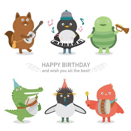 cartoon crocodile: birthday party
