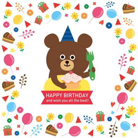 flores de cumpleaños: oso