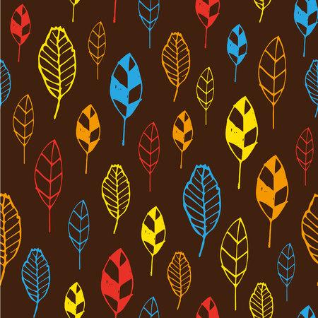 Seamless stylized leaf pattern. Çizim