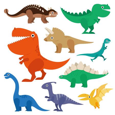 Dinosaur cartoon collection set illustration Çizim