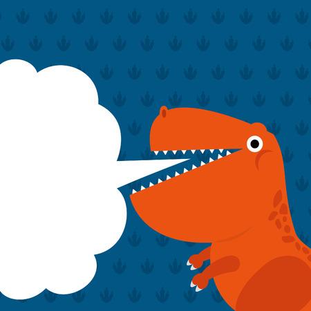 かわいい恐竜とダイアログ ボックス。  イラスト・ベクター素材