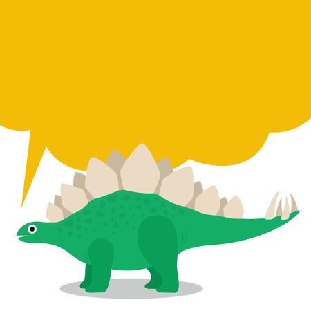 Cute Stegosaurus and dialog box Çizim