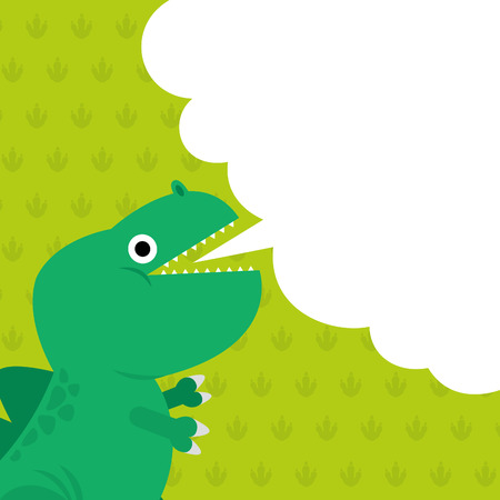 dialog box: Cute dinosaur and dialog box illustration