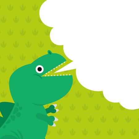Cute dinosaur and dialog box illustration