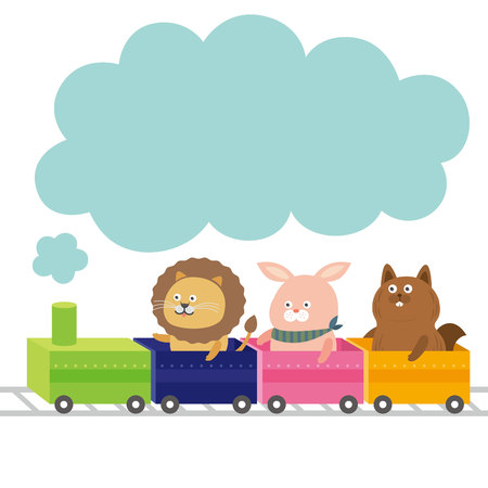 animal train.vector illustration