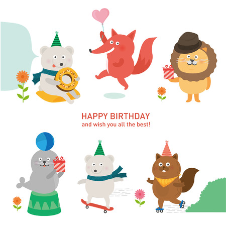 cute animal with happy birthday.vector illustration